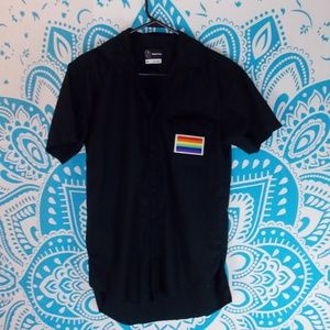 Pride Flag Patch Button Up Black Mens Small S